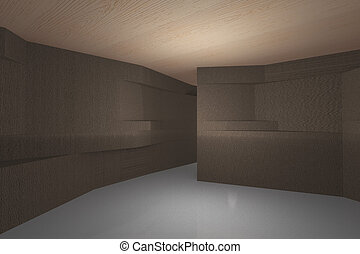 Futuristic interior with bark wood pattern wall and wood...