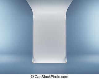 futuristic interior with blue walls