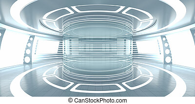 Futuristic interior with empty glass showcase. 3d rendering