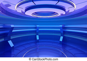 Futuristic interior with empty stage in center. 3d rendering
