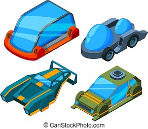 Futuristic isometric cars. Vector 3d low poly futuristic automobiles