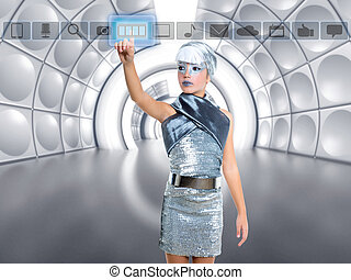 futuristic kid girl in silver touching finger icons on glass...