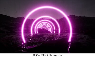 Futuristic landscape. Abstract art. Neon galaxy background. ...