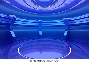 Futuristic light interior with empty stage in the center. 3d rendering