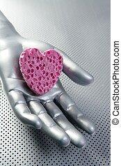 Futuristic love silver valentine heart
