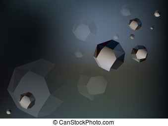 Futuristic low poly rocks - asteroids in the space on dark...