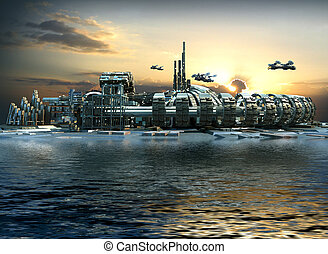 Futuristic marina city - Science fiction city with metallic...