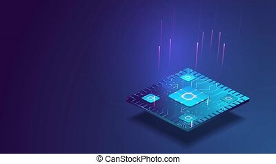 Futuristic microchip processor with lights on the blue background. Quantum computer, large data processing, database concept. CPU isometric banner. Central Computer Processors CPU concept.
