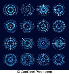 Futuristic military aims, vector sci-fi crosshair