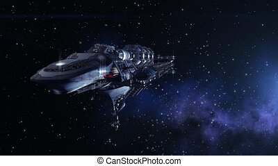 Futuristic deep space travel short sequence with closeup on a detailed spacelab, alien spaceship or military spacecraft for fantasy games or science fiction backgrounds of interstellar deep space travel.