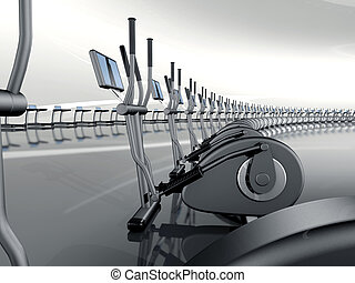 Futuristic modern gym with elliptical cross trainer -...