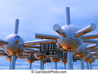 Futuristic modular city - Futuristic modular 3D rendered...