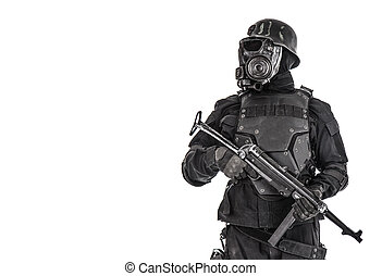 Futuristic nazi soldier half length portrait
