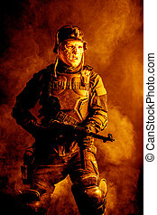 Futuristic nazi soldier studio shot - Ugly face of ...
