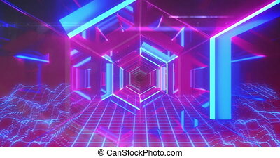Futuristic neon lit pink and blue hexagonal passageway with blue grid below. vintage colour and movement concept digitally generated image.