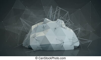 Futuristic network shape. Abstract 3d render animation loop