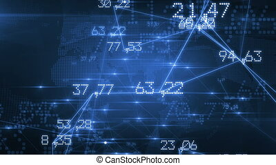 Futuristic Network with Numbers and Lines. Blue Background....