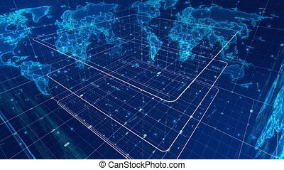 """Futuristic news map revolving around in a cube"""