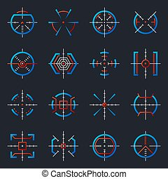 Futuristic optical military aims. Gun targets, focus range indicators. Sniper weapon target with hud UI to accuracy aiming vector icons. Set of aim crosshair, goal and target optical illustration