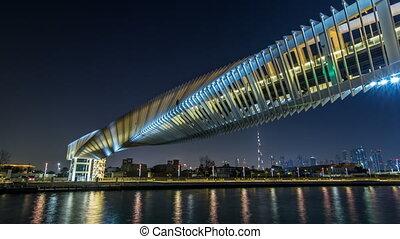 Futuristic Pedestrian Bridge over the Dubai Water Canal...