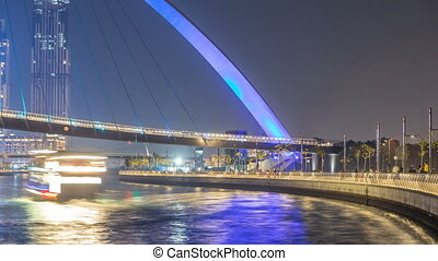 Futuristic Pedestrian Bridge over the Dubai Water Canal...