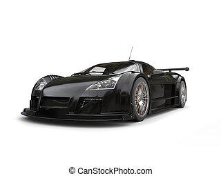 Futuristic pitch black supercar - studio shot