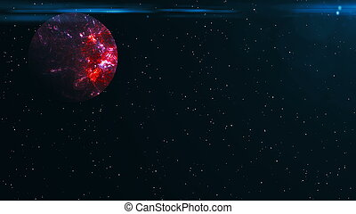 Futuristic planet against the background of the stars. Abstract background with flare effect