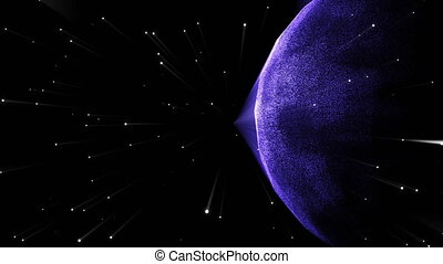 Futuristic planet in the galaxy with stars