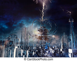 futuristic, pohár, város