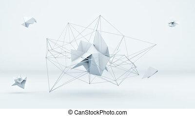 Futuristic polygonal 3D shape in white studio. Loop