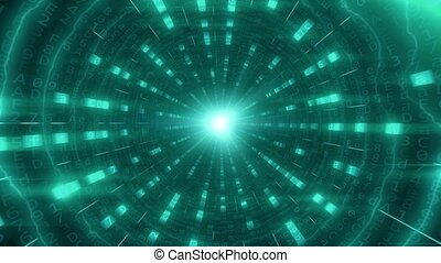 Futuristic POV flight through cyan tunnel or cable made of...
