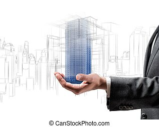 Futuristic project of a building - Architect showing a...