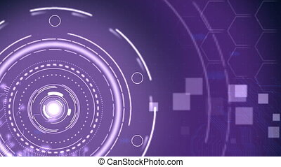Futuristic Purple Hi-Tech Technology Background. -...