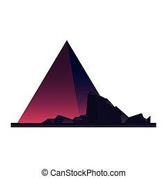 futuristic pyramid rocks on white background