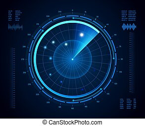 Futuristic radar. Military navigate sonar, army target monitoring screen and radar vision interface map vector isolated concept