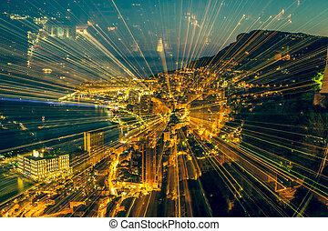 Futuristic radial blur background perspective