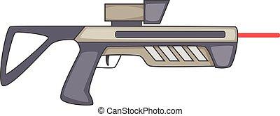 Futuristic ray gun weapon icon, cartoon style