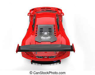 Futuristic red sportscar - top down view
