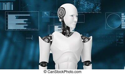 Futuristic robot, artificial intelligence CGI big data analytics and programming . Robotic man 3D render animation .