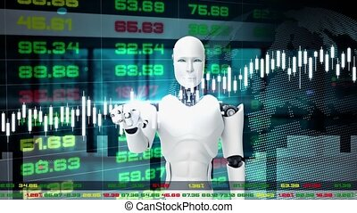 Futuristic robot, artificial intelligence CGI for stock ...