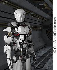 Futuristic robot in sci fi corridor. - A futuristic robot...