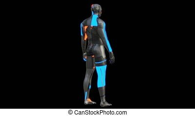 Futuristic robot of dark color with luminous parts of blue...