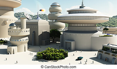 3d Digitally rendered illustration of a scene set in a futuristic science fiction town square