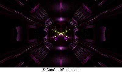futuristic science-fiction alien style tunnel corridor 3d illustration vj loop background
