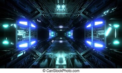 futuristic science-fiction technical tunnel corridor 3d illustration background wallpaper vjloop