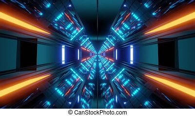 futuristic science-fiction tunnel corridor 3d illustration background wallpaper vjloop