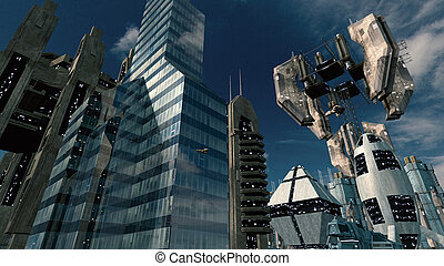 Futuristic scifi city with space station. 3D rendering