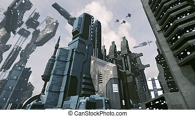 Futuristic scifi city with spaceship takes off. 3D rendering