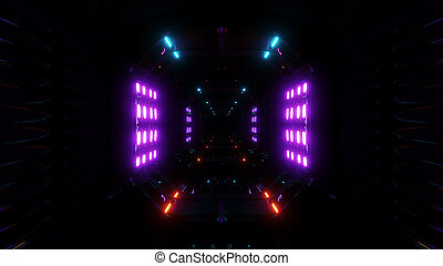 futuristic scifi dark tunnel background with glowing lights 3d render