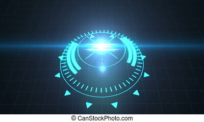 Futuristic screensaver with code hologram. HUD Heads Up Display Scanner high tech target digital read out